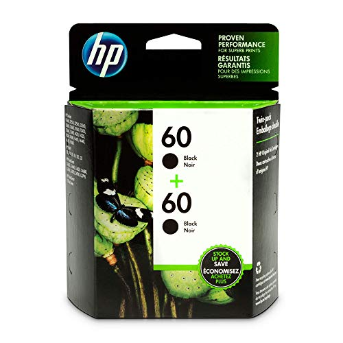 HP 60 Black Original Ink Cartridges, 2 pack (CZ071FN)