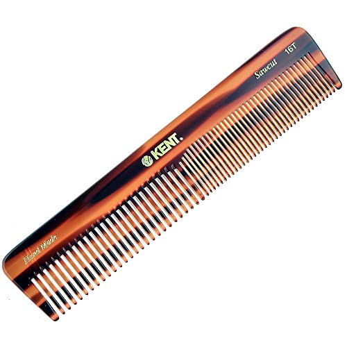 "Kent 16T Hand Made Coarse/Fine Toothed Dressing, Grooming, and Styling Comb for Men/Women, 7""/185mm, 1 Ounce"