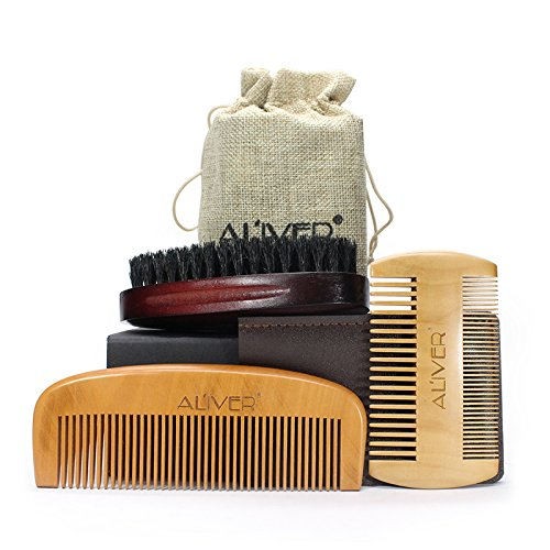 Beard Brush and Beard Comb kit for Men Grooming, Styling & Shaping - Handmade Wooden Comb and Natural Boar Bristle Beard Brush set for Men Beard & Mustache by AL'IVER