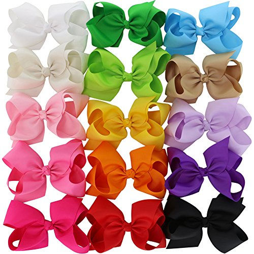 Chiffon 15 Colors 6in Large Big Grosgrain Ribbon Baby Hair Bows WITH Alligator Clips Boutique Bow For Girls Toddlers Teens Babies