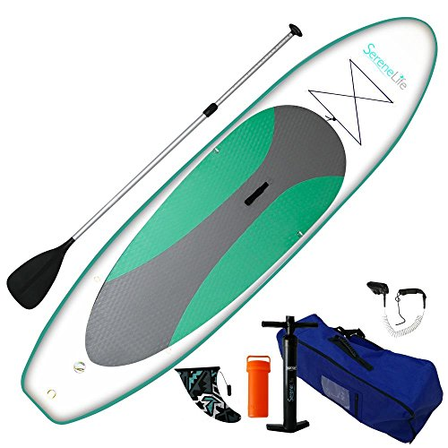 SereneLife Premium Inflatable Stand Up Paddle Board (6 Inches Thick)