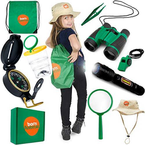 Binoculars for Kids and Outdoor Explorer kit,kids flashlight with Backyard SAFARI HAT for NATURE, Bug Catching,Camping,Hiking,Dress up and Kids Role play magnifying glass Great Gift for Boys and Girls