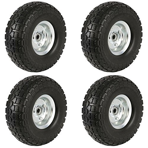 "Yaheetech 4 Pack 10"" Garden Sack Truck Cart Solid Tires/Wheels, 5/8"" Bearings,Camping/Beach/Trolley/Wagon"