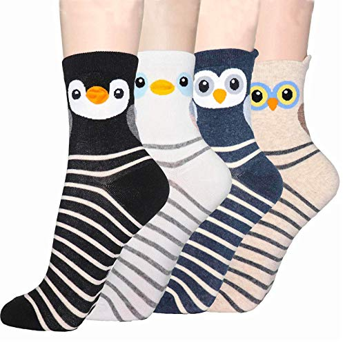 DearMy Womens Cute Design Casual Cotton Crew Socks for Gift Idea One Size Fits All (Cute Bird 4 Pairs)