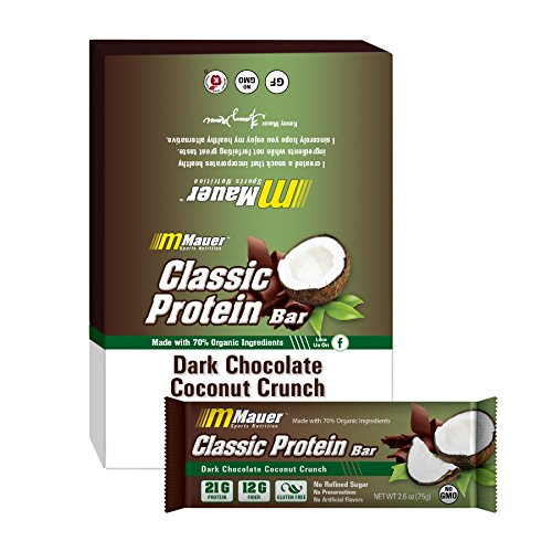 Mauer Sports Nutrition Classic Protein Bars, Dark Chocolate Covered Coconut Crunch, 12 Count