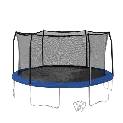 Skywalker Trampolines 16-Foot Trampoline, with Wind Stakes, BlueSkywalker Trampolines 16-Foot Trampoline, with Wind Stakes, Blue