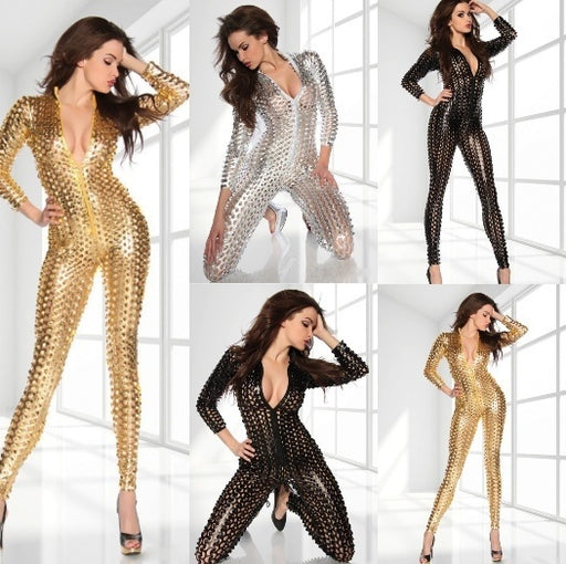 Sexy Hollow Out Bodysuit Spandex PVC Jumpsuit Latex Costume Sexy Catsuit Costumes Lingerie Cat Suits Club Wear