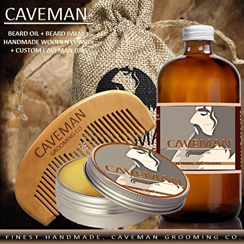Caveman Beard Oil and Beard/Mustache Balm Wax, Handmade Comb Set in Island Breeze Scent 1oz oil,1oz balm, comb