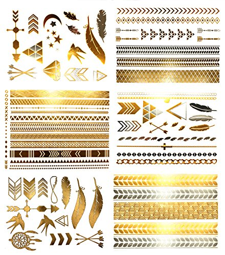 Metallic Bohemian Temporary Hair Tattoos - Over 75 Designs Gold Silver (6 Sheets) Terra Tattoos Hazel Collection