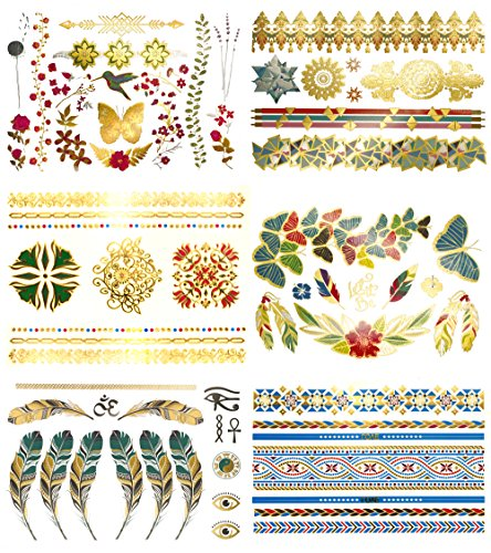 Tropical Boho Metallic Temporary Tattoos - Over 75 Colorful Gold Designs (6 Sheets) Terra Tattoos Layla Collection