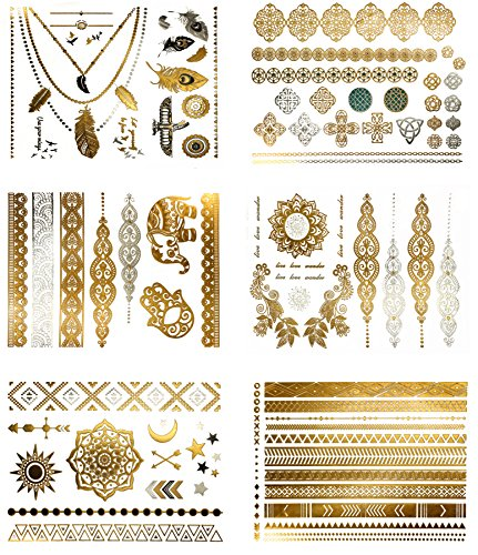Metallic Boho Gypsy Temporary Tattoos - Over 75 Fake Tattoos in Gold and Silver (6 Sheets) Terra Tattoos Serenity Collection