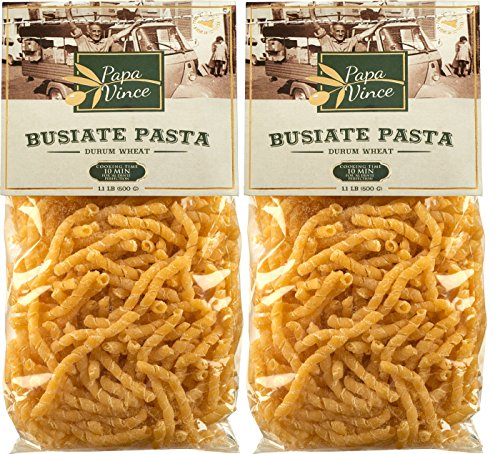 Busiate Pasta Sicily Italy artisan - made with ancient seeds by locals | NON GMO | WHOLE GRAIN | NO ENRICHED | AL DENTE macaroni holds seafood sauce like a magnet (1.1 lb 2-Packs) - Papa Vince