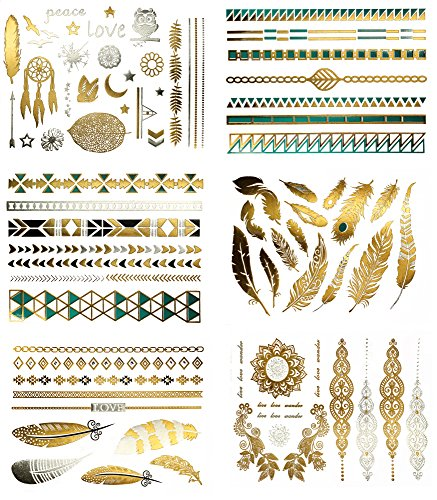 Boho Native American Metallic Tattoos - Over 75 Temporary Tat Designs, Turquoise Gold Silver (6 Sheets) Terra Tattoos Chloe Collection