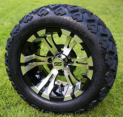 "12"" VAMPIRE Machined/Black Golf Cart Wheels and 20x10-12 DOT All Terrain Golf Cart Tires - Set of 4 - NO LIFT REQUIRED (read description)"