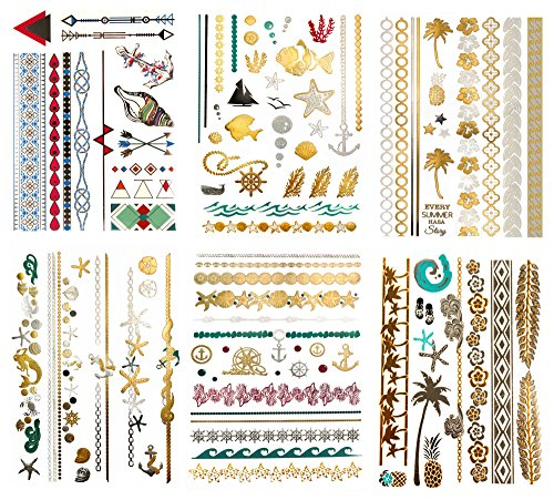 Mermaid Metallic Hawaiian Temporary Tattoos - 75 Beach Sea Life Designs in Gold Silver Tropical Colors (6 Sheets) Terra Tattoos Alana Collection