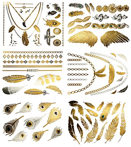 Boho Feather Metallic Temporary Tattoos - Over 75 Gold and Silver Designs (6 Sheets) Terra Tattoos Destiny Collection