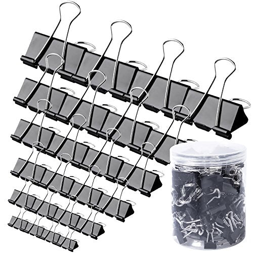 120 Pcs Binder Clips Paper Clamps Assorted 6 Sizes, Paper Binder Clips Metal Fold Back Clips with Box for Office, School and Home Supplies, Black