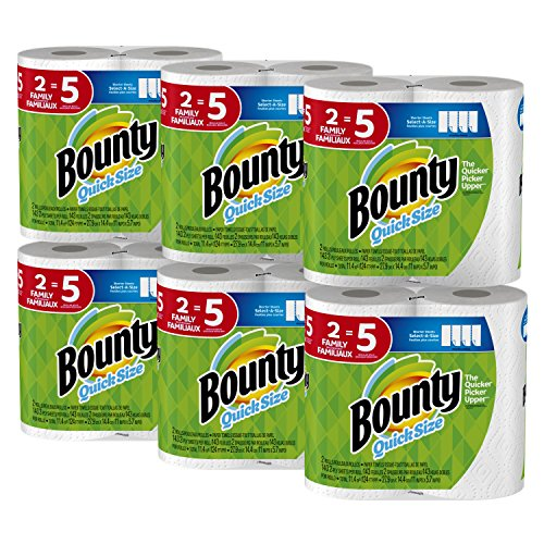 Bounty Quick-Size Paper Towels, White, Family Rolls, 12 Count