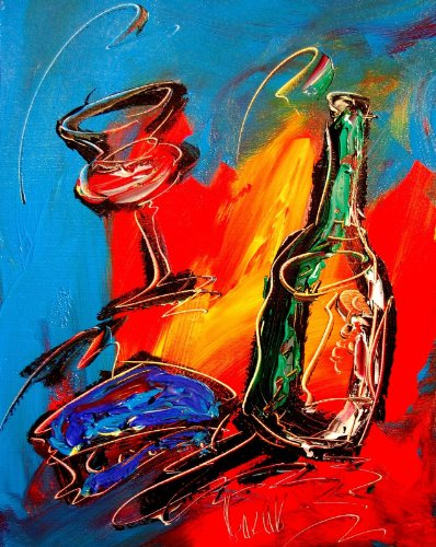 Wine Modern Abstract Impressionist Art Deco - Oil Painting on Canvas- Signed with Certificate of Authenticity-size 20 X 24, Fine Arts, Stretched , Gallery Wrap, Ready to Hang