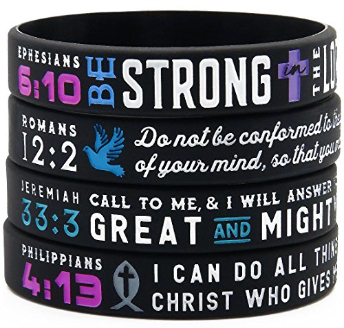 """Power of Faith"" Bible Verse Wristbands - Set of 4 Silicone Bracelets with Christian Symbols and Scriptures - Religious Jewelry for Her Women"
