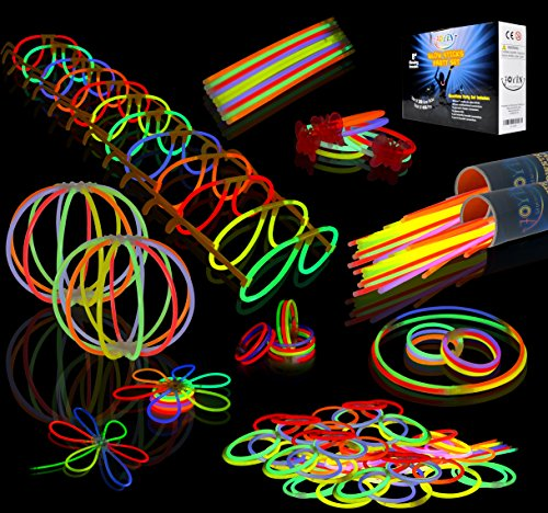 "JOYIN Glow Sticks Bulk 200 8"" Glowsticks (Total 456 PCs 7 Colors); Bracelets Glow Necklaces Glow-In-The-Dark Light-up 2019 New Years Eve Party Supplies Pack."
