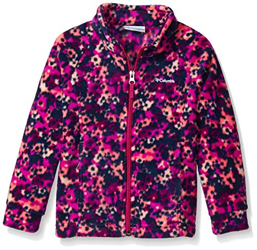 Columbia Girls' Big Benton Springs Ii Printed Fleece Jacket, Hot Coral Floral Camo, Large