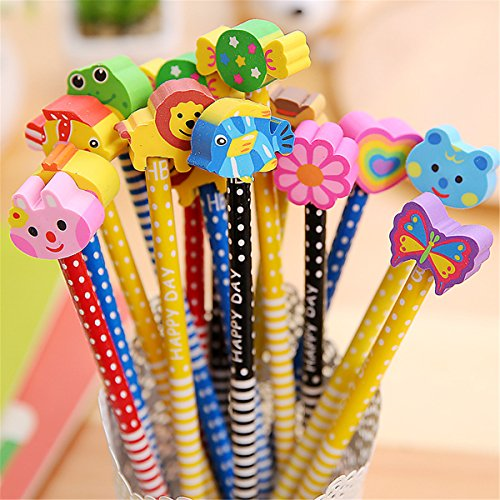 Pack of 40 Colorful Novelty Cartoon Animals' Stripe Eraser Wood Pencils 7.28'' for Office School Supplies Students Children Gift (40pcs cartoon pencil with eraser) (Yansanido)