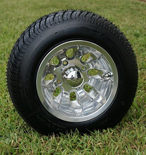 "10"" SILVER BULLET Polished Aluminum Golf Cart Wheels and 205/50-10 DOT Golf Cart Tires Combo - Set of 4"