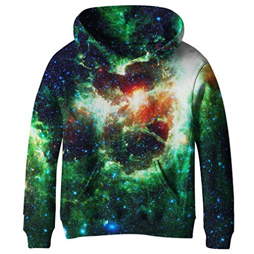 SAYM Big Girls Galaxy Fleece Pockets Sweatshirts Jacket Pullover Hoodies NO23 L