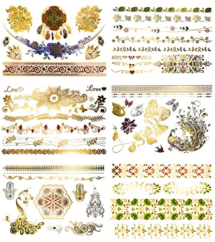 Boho Floral Temporary Metallic Tattoos - Over 75 Designs, Gold Silver Metallic Colors (6 Sheets) Terra Tattoos Aria Collection