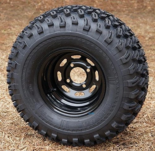 "10"" Black Steel Golf Cart Wheels and 22x11-10 All Terrain Golf Cart Tires - Set of 4"