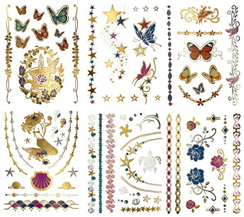 Metallic Mermaid Butterfly Temporary Tattoos - Over 75 Designs, Colorful Gold Silver Fairies Flowers (6 Sheets) Terra Tattoos Bella Collection