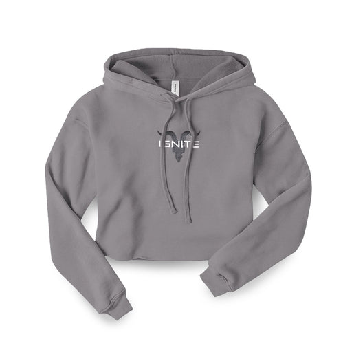 Ignite Premium Collection Ladies Light Heather Grey Cropped Hoodie