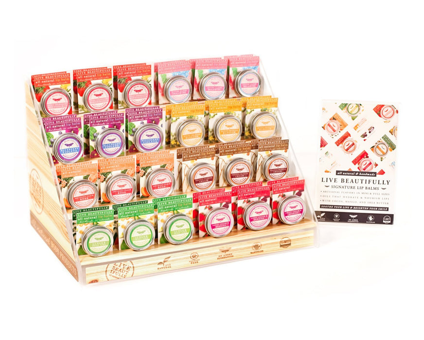 Live Beautifully - Signature Lip Balm Step Display