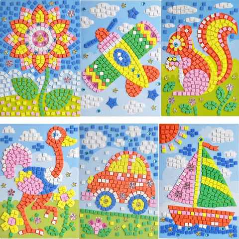 osaic StickerDIY Handmade Art Kits for Kids - Sunflower, Woodpecker, Hot Air Balloon, Butterfly, Giraffe, Sailboat