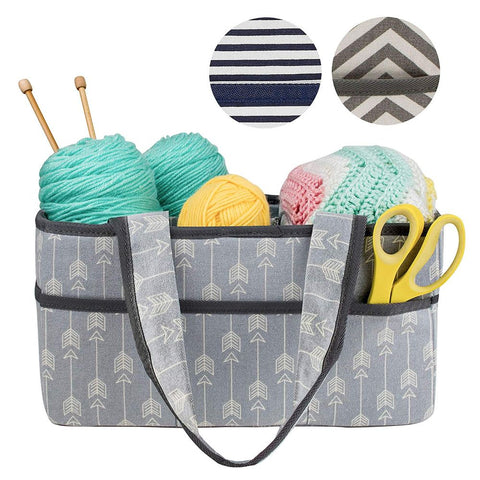 Premium Craft Caddy Knitting Storage Bin & Organizer Basket Bundle