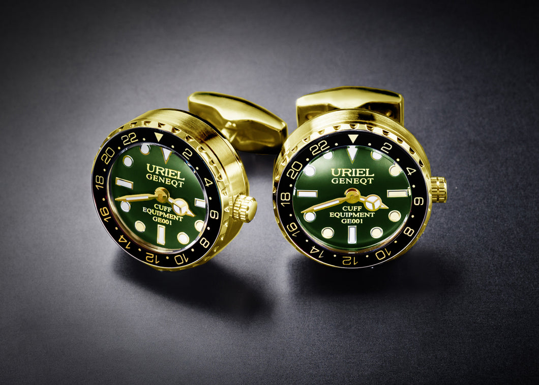 GE001 CUFFLINKS (Version D, Gold-Green color)