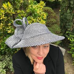 Black & White Paper Fabric Brimmed Hat by Sherry Richardson