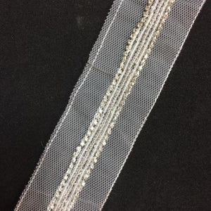 Beaded Trim - [1.3cm] Silver Crystals and Silver & White Beads [per 1/2m] - AU