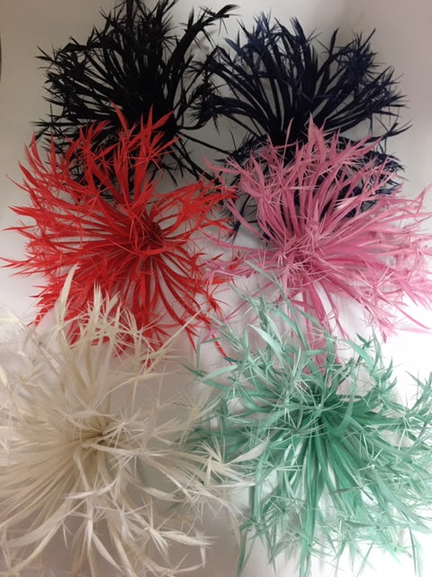 Biot Feather Starburst on Wire - Lon - B Unique Millinery