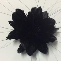 Feather Flower with Peacock Fringes (EF1097) - US - B Unique Millinery