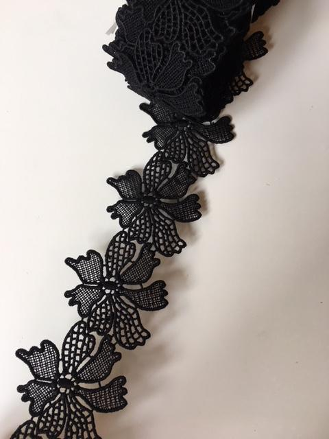 Lace Trim 24 - Filigree Flowers Black [/m] - AU - B Unique Millinery