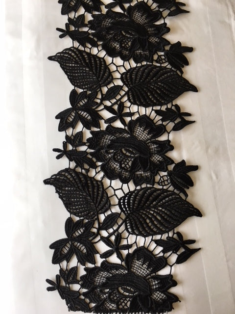 Guipure Lace Trim 39 - Leaf Design Black - AU - B Unique Millinery