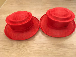 """Red Hat"" Sinamay Hat Bases - AU - B Unique Millinery"