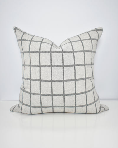 Grey Windowpane Washable Pillow Cover