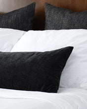 Load image into Gallery viewer, [Pre-Order] Faux Velvet Black Long Lumbar Pillow Cover