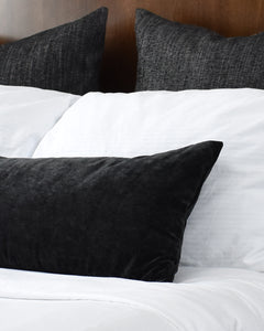 [Pre-Order] Faux Velvet Black Long Lumbar Pillow Cover