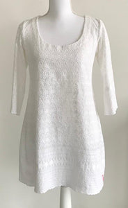 Women's Chikan Cotton Dress Long Sleeve White Collection Herzlotus - Exclusive Lotus Collection Dress, One Size