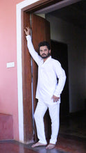 Load image into Gallery viewer, Men White Shirt Long Sleeves Let Love Lead: Happy - Exclusive soft Cotton in linen look Long Sleeve Shirt - Premium Collection Men, One Size & Custom Size (approx. Rs. 4500)