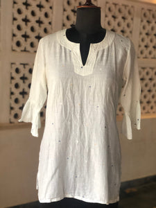 Women Pink Kurta Long Sleeve Jamdani Love Label: Be Unique - Exclusive Jamdani Long Sleeve Kurta - Premium Collection Women, Custom Size (approx. Rs. 8200)